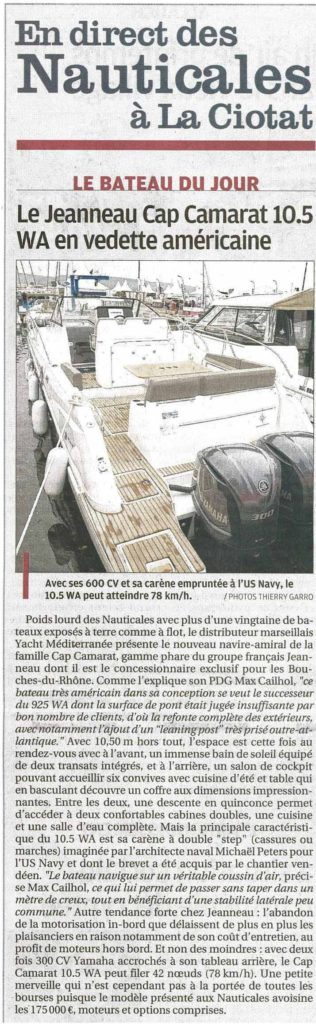 Yacht Méditerranée dans la presse La provence